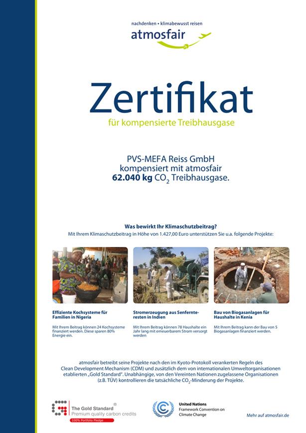 pvs-mefa zertifiziert von atmosfair für Kompensation von CO2-Ausstoß